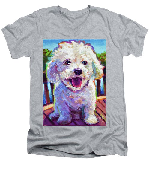 Men's V-Neck T-Shirt featuring the painting Bichon Frise by Robert Phelps