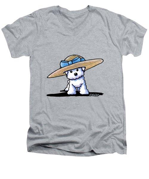 Bichon In Hat Men's V-Neck T-Shirt