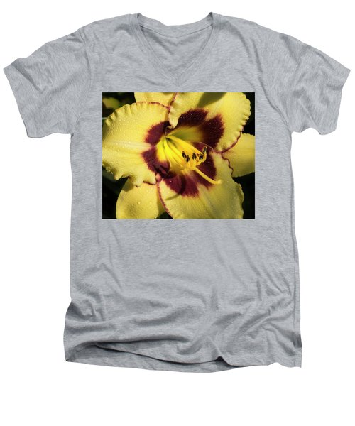 Men's V-Neck T-Shirt featuring the photograph Bicolored Lily by Jean Noren