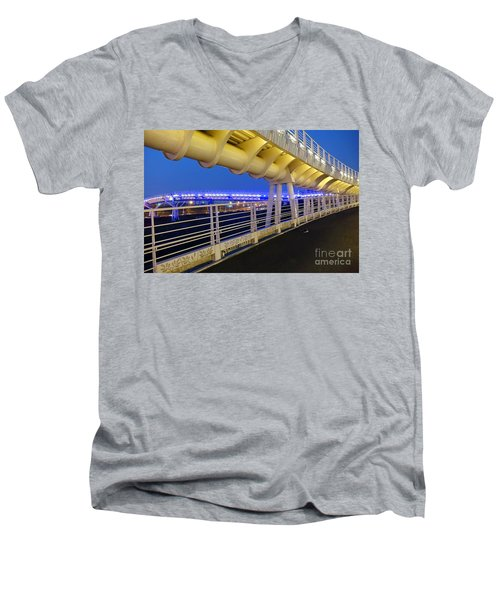 Men's V-Neck T-Shirt featuring the photograph Bicycle And Pedestrian Overpass by Yali Shi