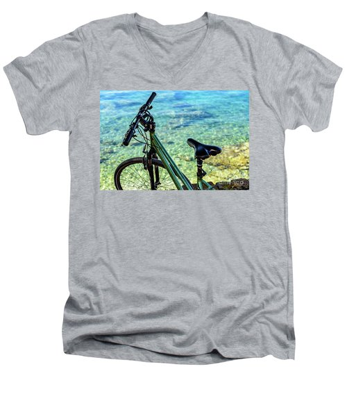 Bicycle By The Adriatic, Rovinj, Istria, Croatia Men's V-Neck T-Shirt