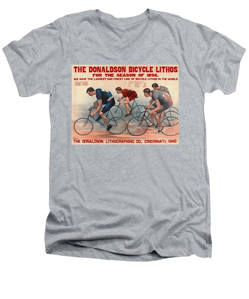 Men's V-Neck T-Shirt featuring the photograph Bicycle Lithos Ad 1896 by Padre Art