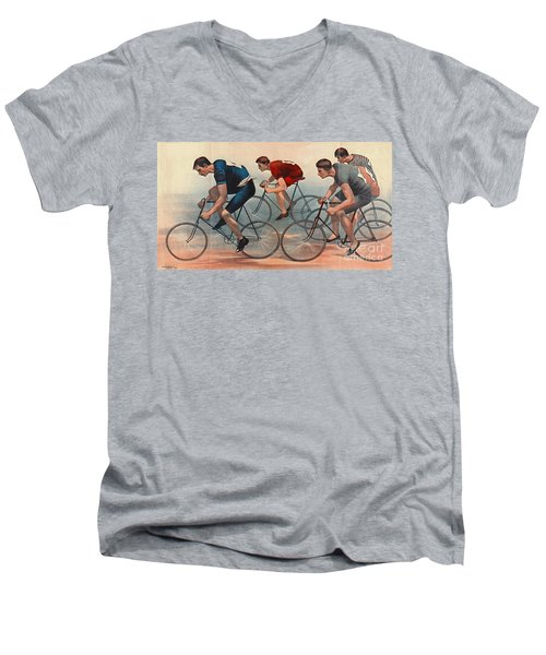 Men's V-Neck T-Shirt featuring the photograph Bicycle Lithos Ad 1896nt by Padre Art