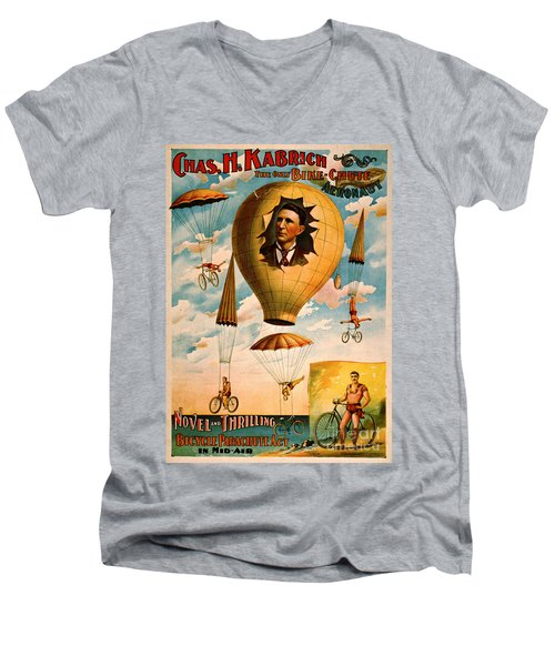 Men's V-Neck T-Shirt featuring the photograph Bicycle Parachute Act 1896 by Padre Art