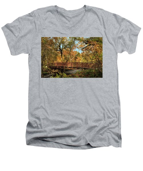 Men's V-Neck T-Shirt featuring the photograph Bidwell Park Bridge In Chico by James Eddy
