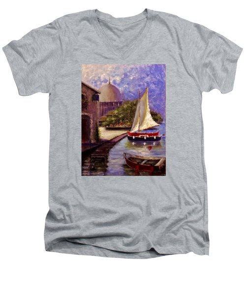 Men's V-Neck T-Shirt featuring the painting Bienvenue A Yvoire.. by Cristina Mihailescu