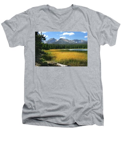 Men's V-Neck T-Shirt featuring the photograph Autumn At Bierstadt Lake by David Chandler