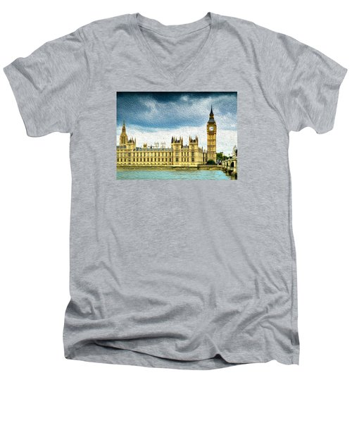 Big Ben And Houses Of Parliament With Thames River Men's V-Neck T-Shirt