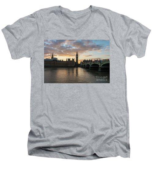Big Ben London Sunset Men's V-Neck T-Shirt by Mike Reid