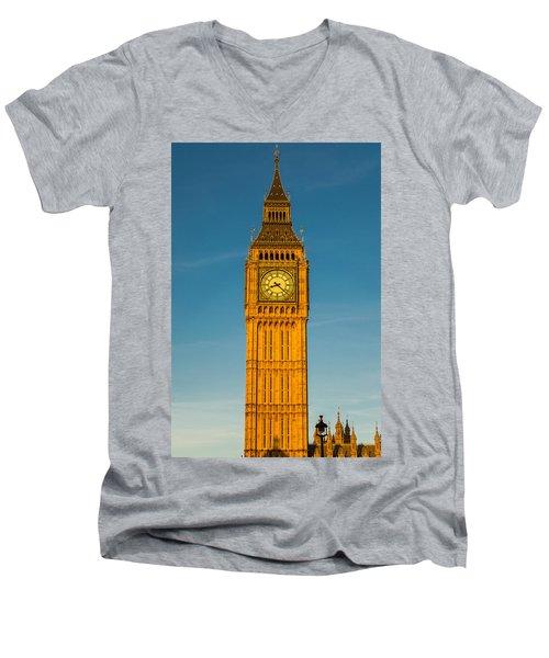 Big Ben Tower Golden Hour London Men's V-Neck T-Shirt