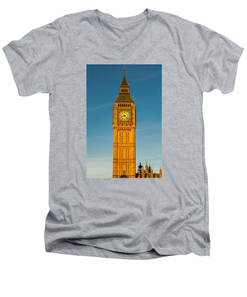 Big Ben Tower Golden Hour London Men's V-Neck T-Shirt