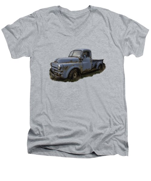 Big Blue Dodge Alone Men's V-Neck T-Shirt by Debra and Dave Vanderlaan