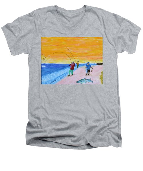 Big Blues At Herring Cove Men's V-Neck T-Shirt