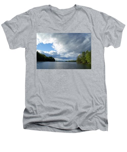 Men's V-Neck T-Shirt featuring the photograph Big Brooding Sky by Lynda Lehmann