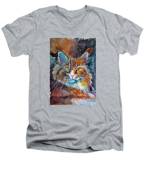 Big Cat Men's V-Neck T-Shirt by Kovacs Anna Brigitta