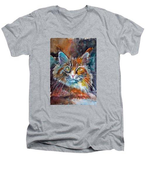 Big Cat Men's V-Neck T-Shirt