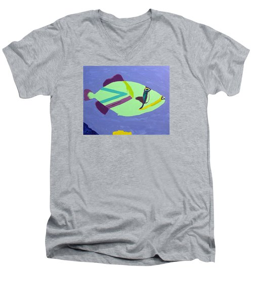 Men's V-Neck T-Shirt featuring the painting Big Fish In A Small Pond by Karen Nicholson