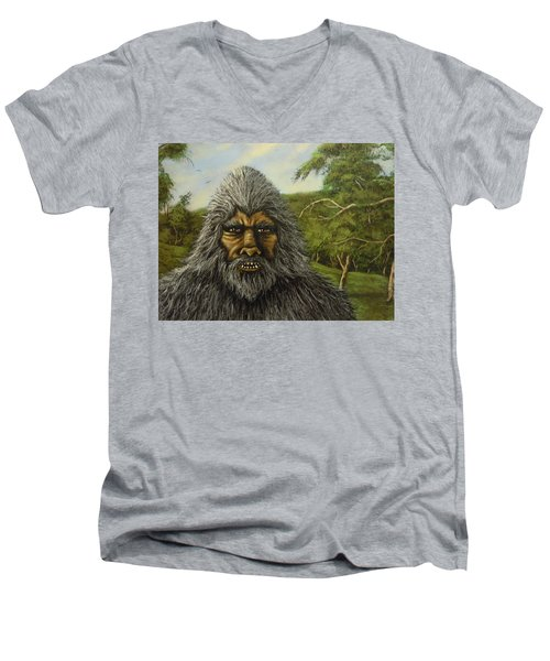 Men's V-Neck T-Shirt featuring the painting Big Foot In Pennsylvania by James Guentner