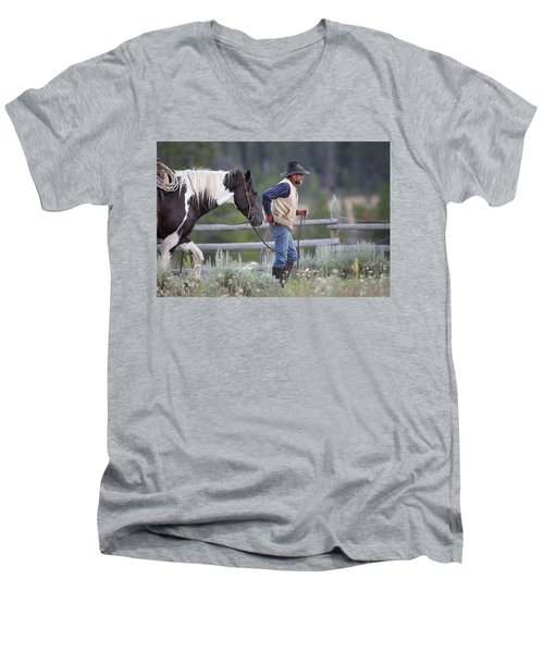 Big Horn Cowboy Men's V-Neck T-Shirt