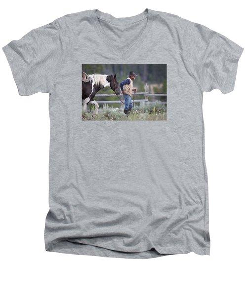 Big Horn Cowboy Men's V-Neck T-Shirt