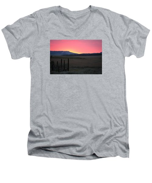 Big Horn Sunrise Men's V-Neck T-Shirt by Diane Bohna