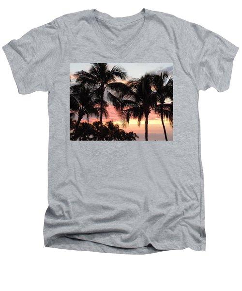 Big Island Sunset 1 Men's V-Neck T-Shirt by Karen J Shine