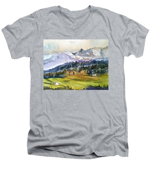 Big Mountain Sunset Men's V-Neck T-Shirt