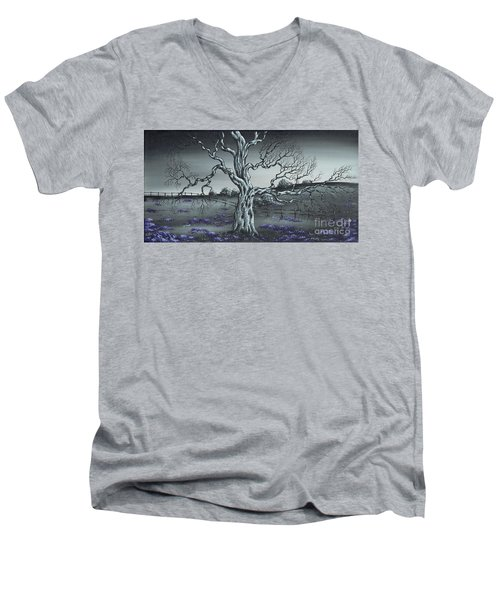 Men's V-Neck T-Shirt featuring the painting Big Old Tree by Kenneth Clarke