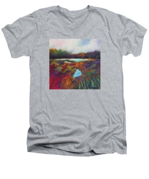 Men's V-Neck T-Shirt featuring the painting Big Pond In Fall Mc Cormick Woods by Marti Green
