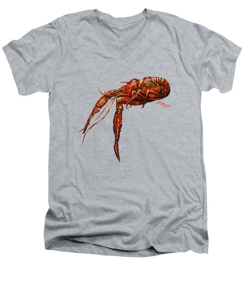 Big Red Men's V-Neck T-Shirt by Dianne Parks