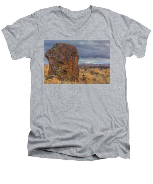 Big Rock At Lava Beds Men's V-Neck T-Shirt
