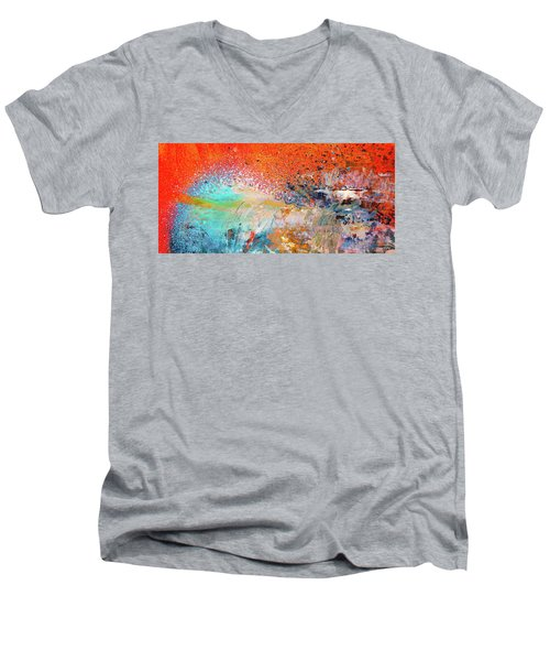 Big Shot - Orange And Blue Colorful Happy Abstract Art Painting Men's V-Neck T-Shirt