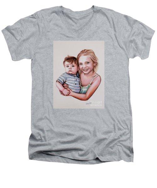 Big Sister Men's V-Neck T-Shirt by Dave Luebbert