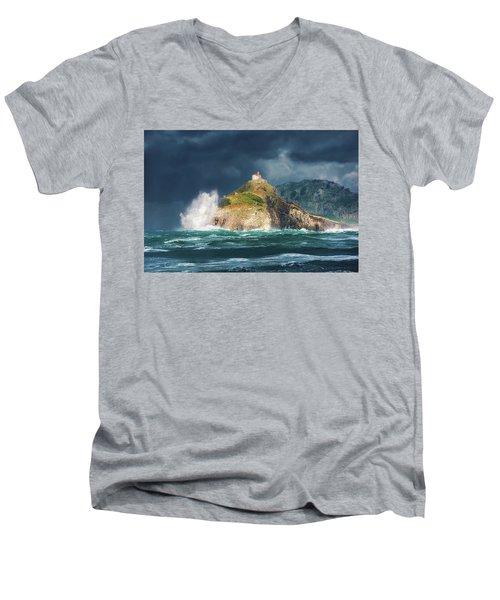 Big Waves Over San Juan De Gaztelugatxe Men's V-Neck T-Shirt
