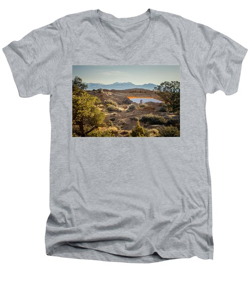Bighorn Sheep And Mesa Arch Men's V-Neck T-Shirt