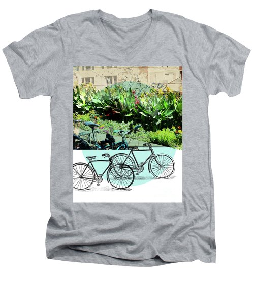 Bike Poster Men's V-Neck T-Shirt by Deborah Nakano