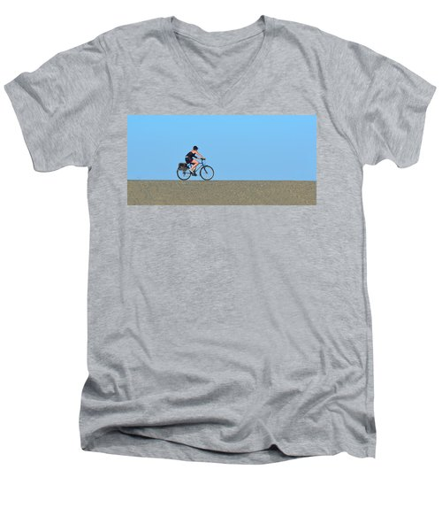 Bike Rider On Levee Men's V-Neck T-Shirt by Josephine Buschman