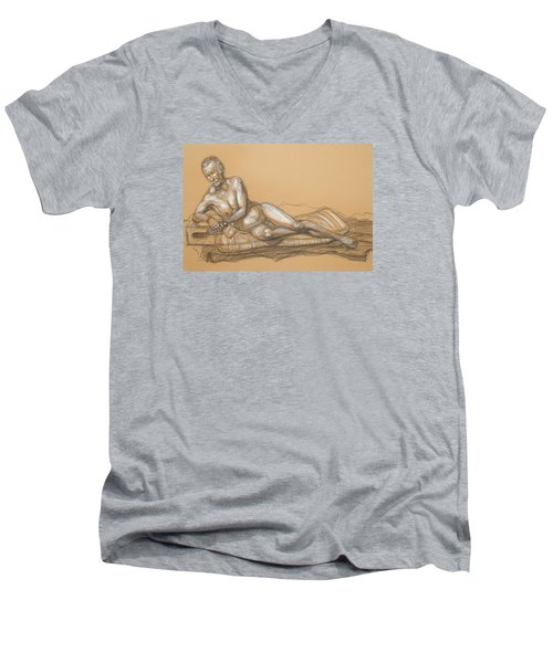 Men's V-Neck T-Shirt featuring the drawing Bill Reclining by Donelli  DiMaria