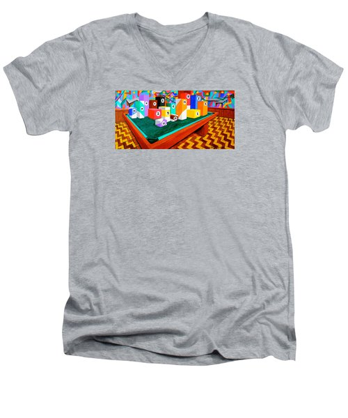 Men's V-Neck T-Shirt featuring the painting Billiard Table by Cyril Maza