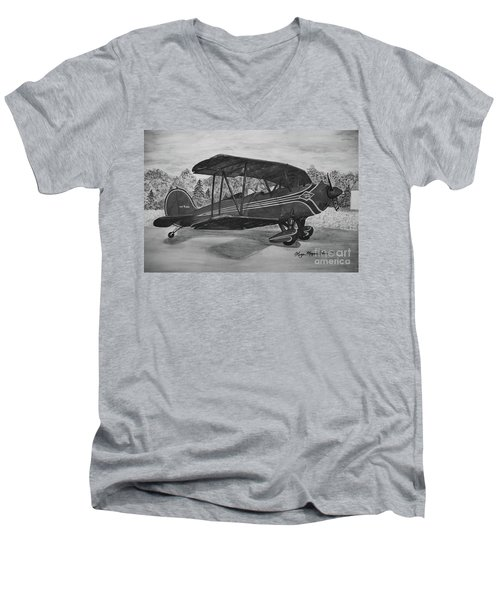 Biplane In Black And White Men's V-Neck T-Shirt by Megan Cohen