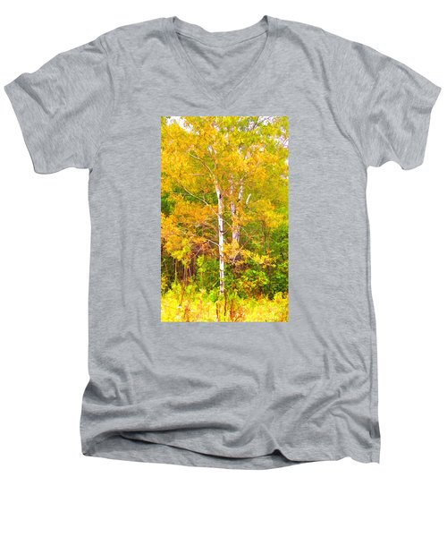 Men's V-Neck T-Shirt featuring the photograph Birch Afire  by Susan Crossman Buscho