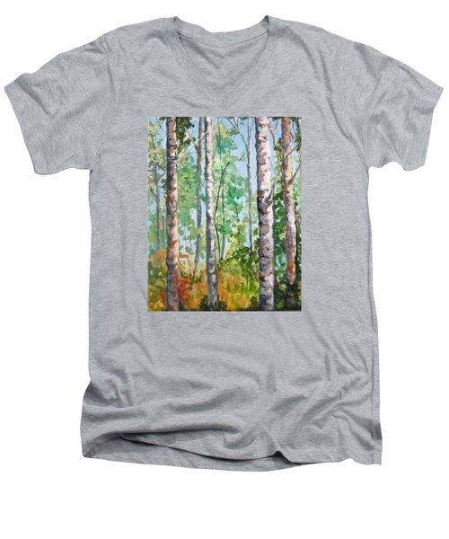 Birch Men's V-Neck T-Shirt by Barbara O'Toole