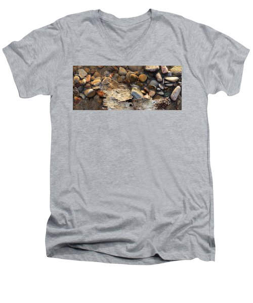 Birch Bark And Ice In The Creek Four  Men's V-Neck T-Shirt