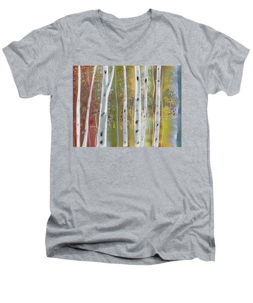 Men's V-Neck T-Shirt featuring the digital art Birch Forest by Paula Brown