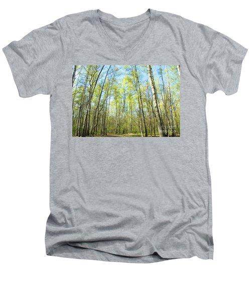 Birch Forest Spring Men's V-Neck T-Shirt