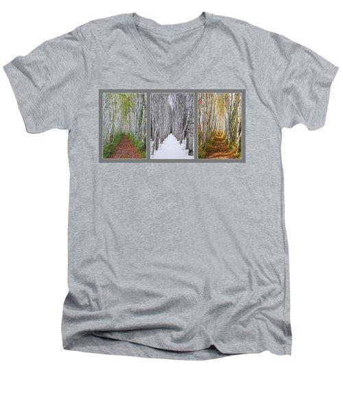 Birch Path Three Season Collage Men's V-Neck T-Shirt
