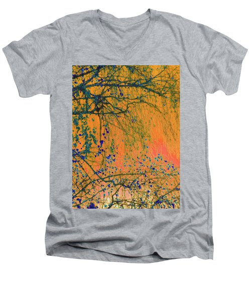 Birch Tree And Orange Sky - Winter Men's V-Neck T-Shirt by Brooks Garten Hauschild