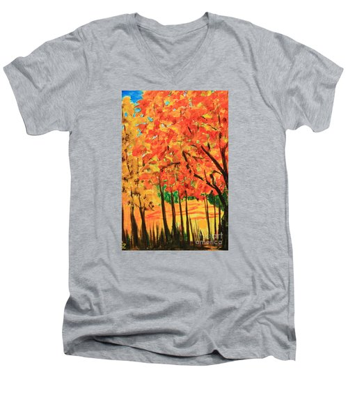 Men's V-Neck T-Shirt featuring the painting Birch Tree /autumn Leaves by Nancy Czejkowski