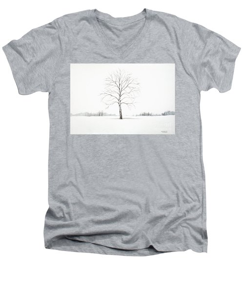 Men's V-Neck T-Shirt featuring the painting Birch Tree Upon The Winter Plain by Christopher Shellhammer