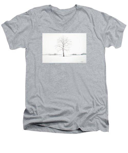 Birch Tree Upon The Winter Plain Men's V-Neck T-Shirt